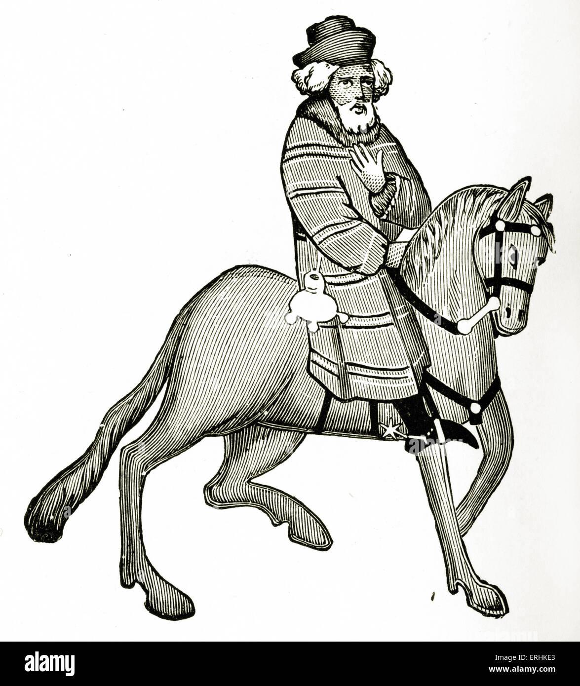 Geoffrey Chaucer ' s Canterbury Tales - The Franklin  on horseback.  English poet, c. 1343-1400. Ellesmere manuscript - Stock Image