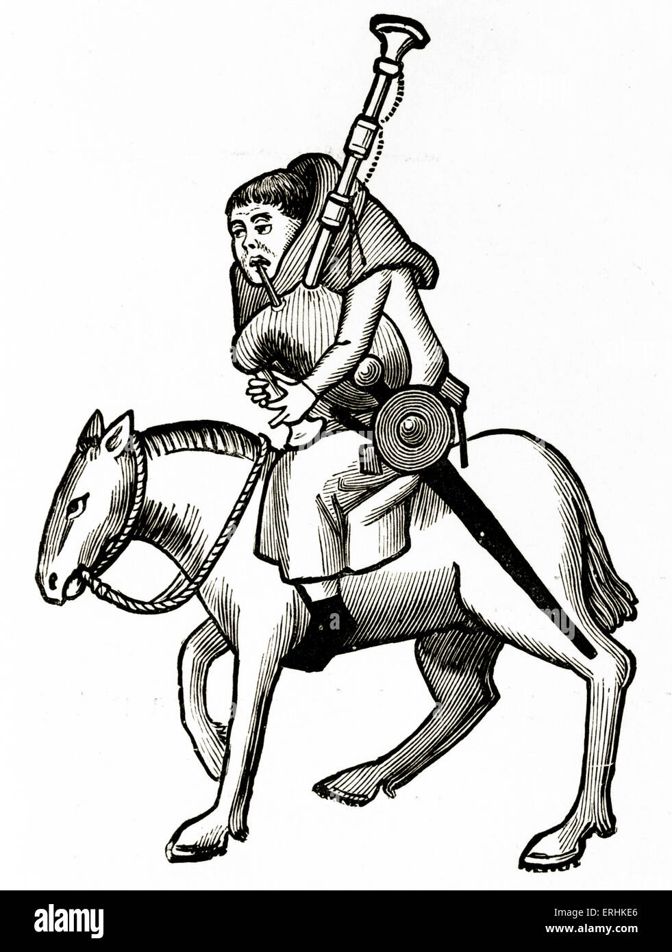 Geoffrey Chaucer ' s Canterbury Tales - The Miller on horseback.  English poet, c. 1343-1400. Ellesmere manuscript - Stock Image