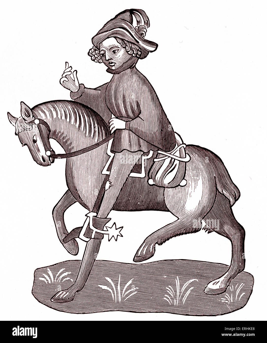 Geoffrey Chaucer's The Canon's Yeoman on horseback - from The Canterbury Tales. c. 1343-1400. Ellesemere - Stock Image