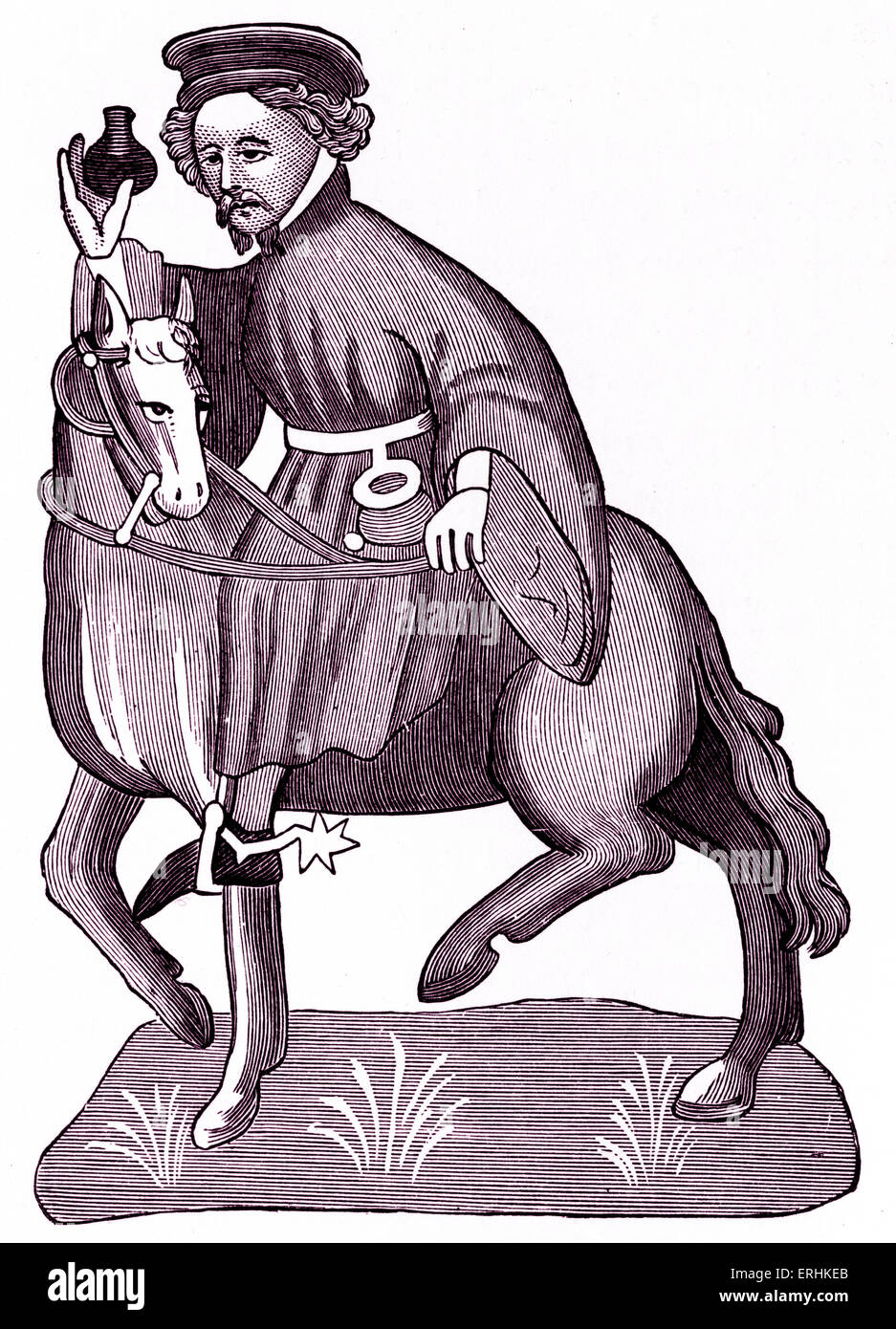 Geoffrey Chaucer ' s Canterbury Tales - The Manciple on horseback.  English poet, c. 1343-1400. Ellesemere manuscript Stock Photo