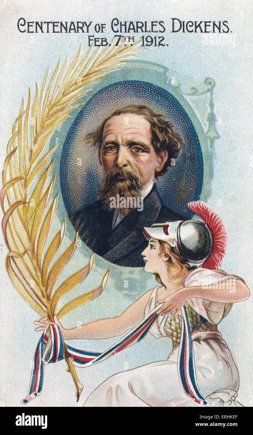 Charles Dickens, British novelist. Centenary card, 7 February 1912. CD: 1812 - 1870. Card:  Issued by Co-operative - Stock Image