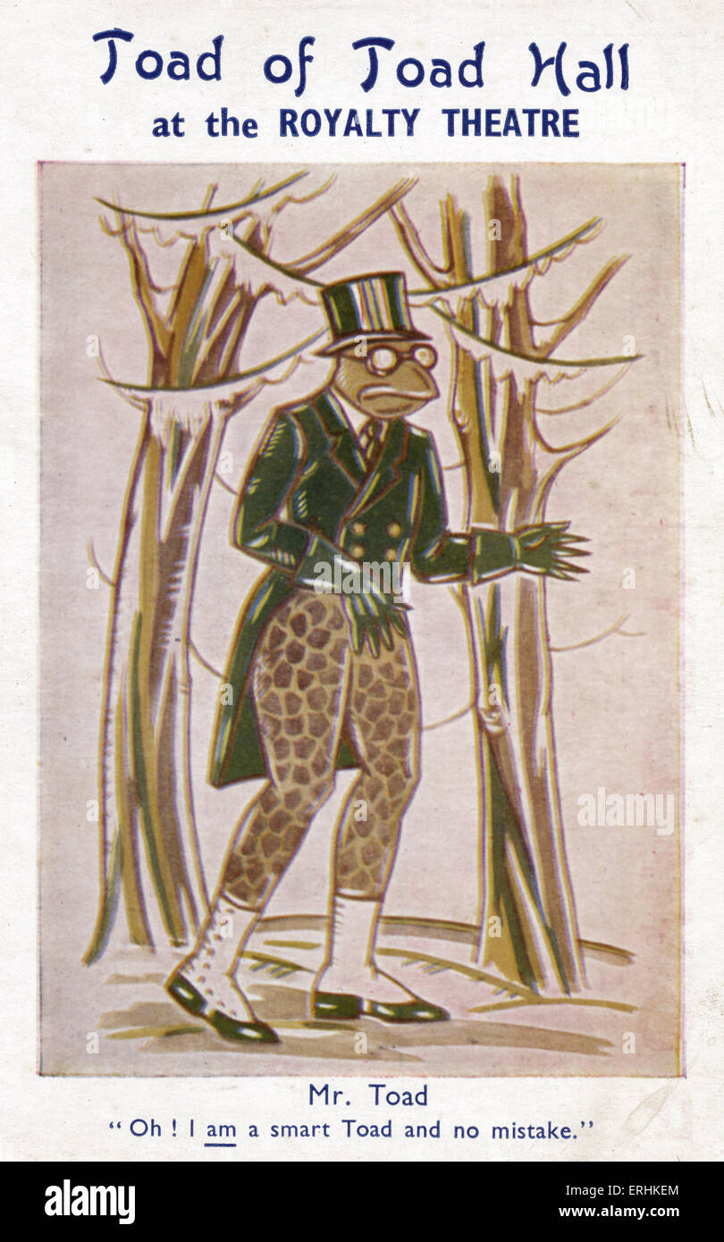 Mr. Toad from 'Toad of Toad Hall' by Alan Alexander Milne.  Play based on the novel ' The Wind in the - Stock Image