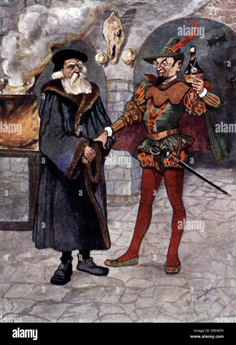 Advert based on 'Faust' scene - play by Johann Wolfgang Goethe. Mephistopheles, the devil, tempting Faust - Stock Image