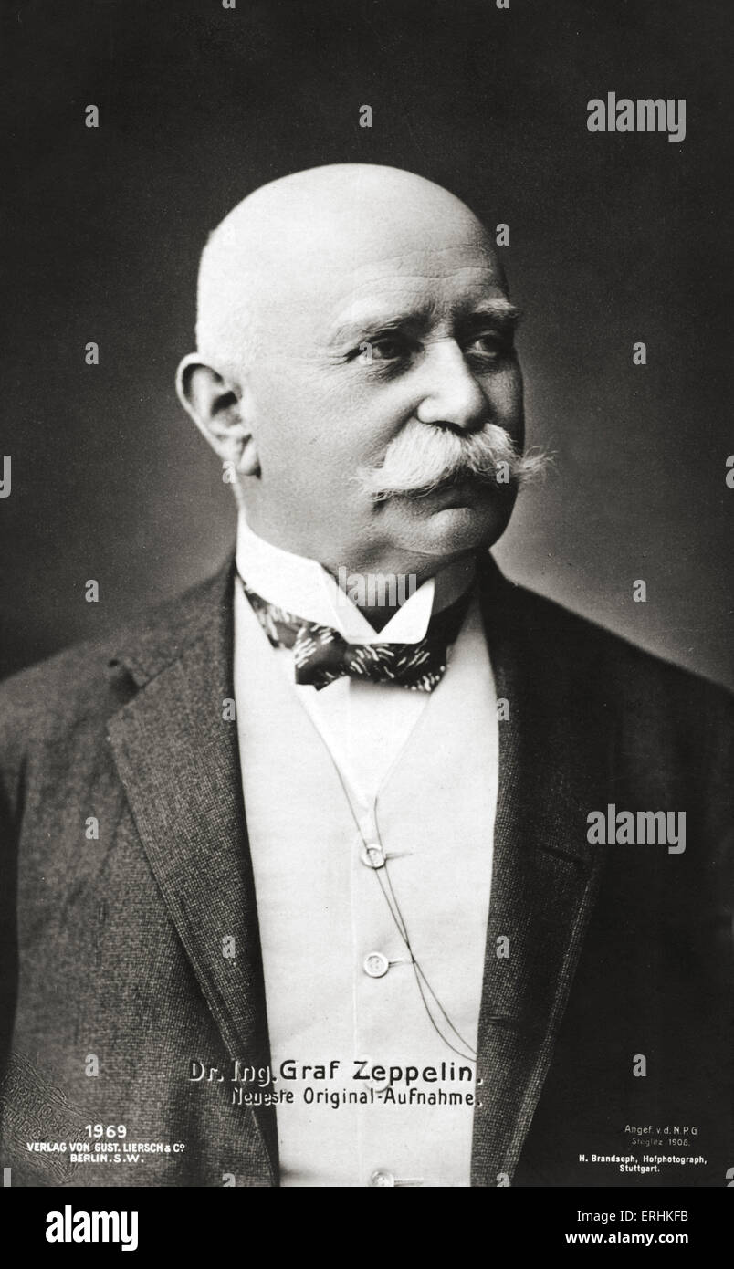 Count Ferdinand von Zeppelin - portrait of the German founder of the Zeppelin airship company..8 July 1838 - 8 March - Stock Image