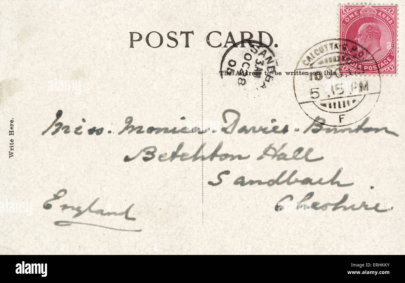 back of postcard stamped in calcutta at 5 15 pm 1905 plus indian