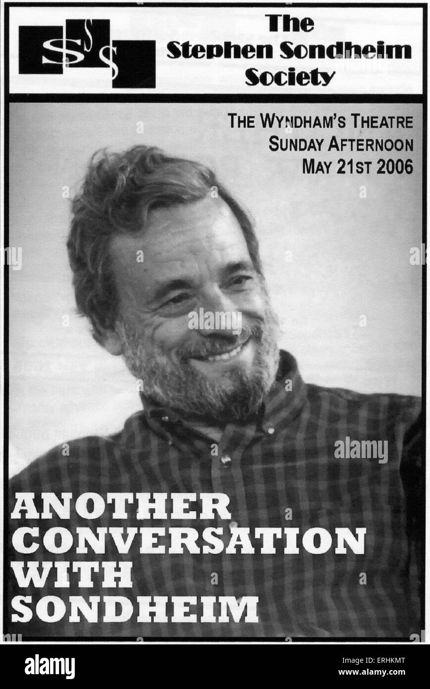 Stephen Sondheim Society - cover of programme for 'Another Conversation with Sondhiem. Wyndham's Theatre, - Stock Image