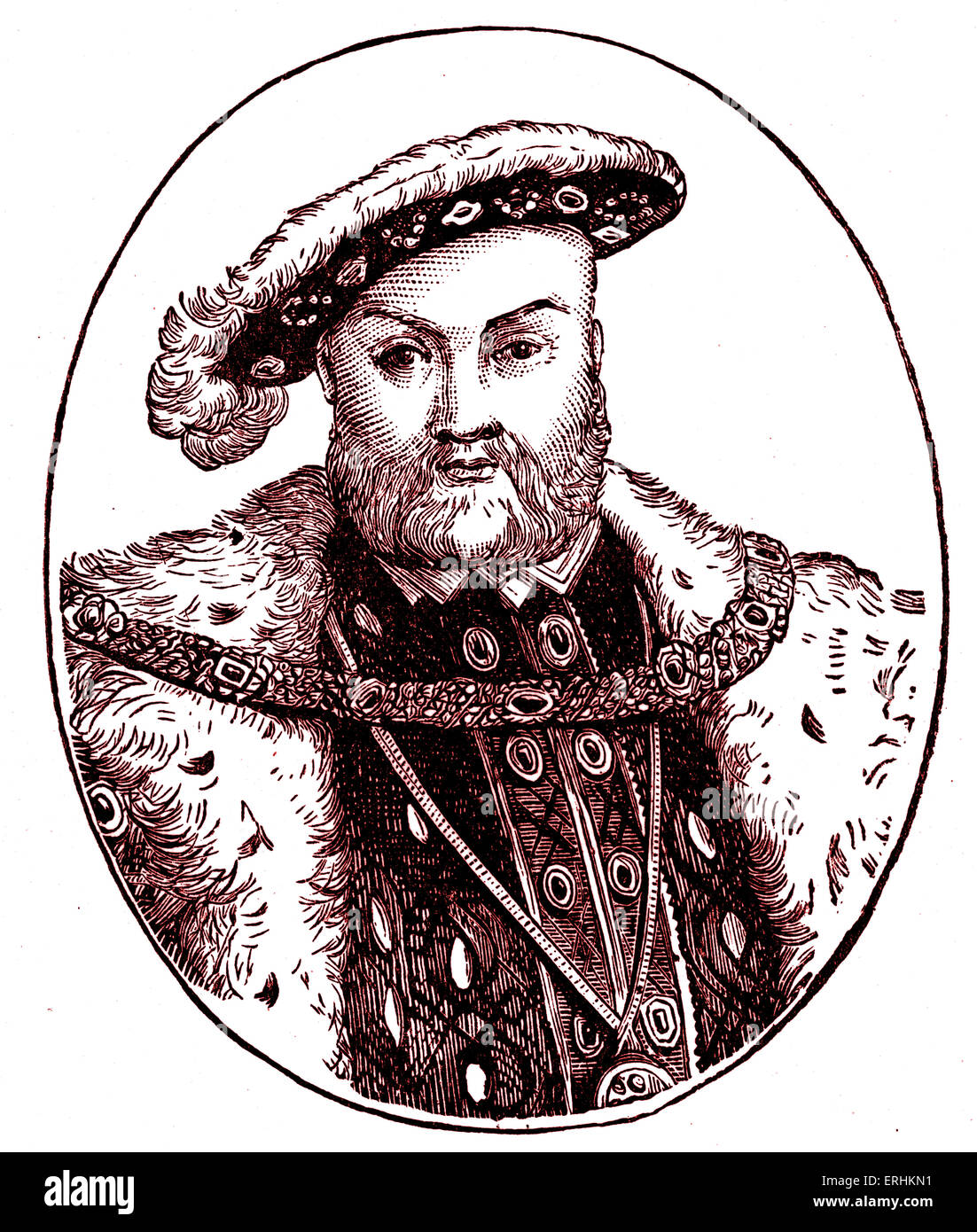 Henry VIII. King of England. 28 June 1491 – 28 January 1547. - Stock Image