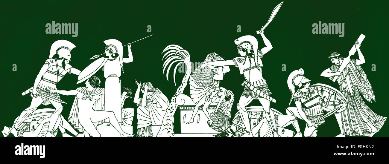 The capture of Troy. Trojan.  Men holding shields,spears and swords.  Fighting.  Shield, spear, sword. - Stock Image
