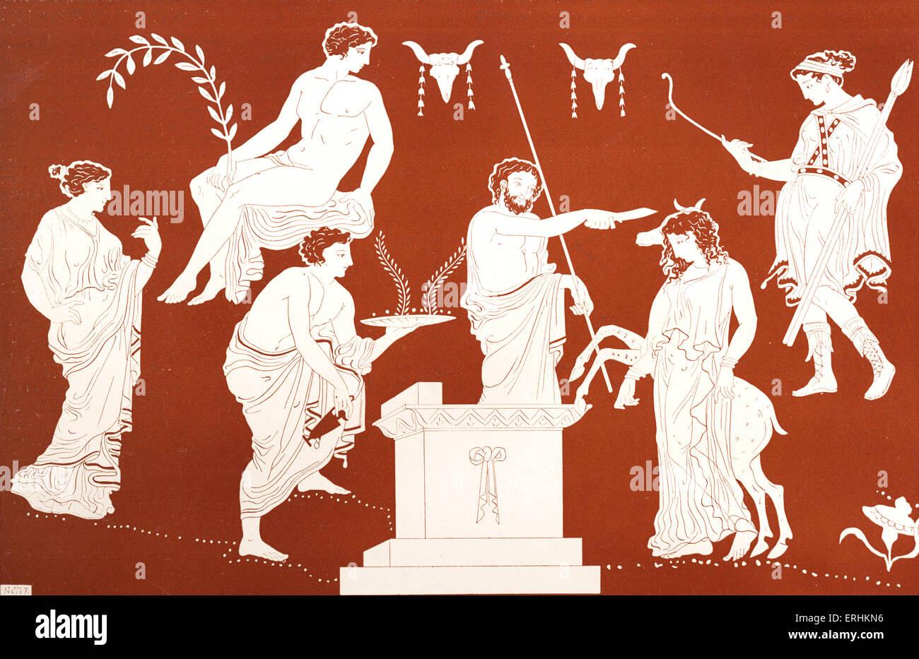Iphigenia - the sacrifice of the daughter of Agamemnon and Clytemnestra. Greek mythology.  Iphigeneia. - Stock Image