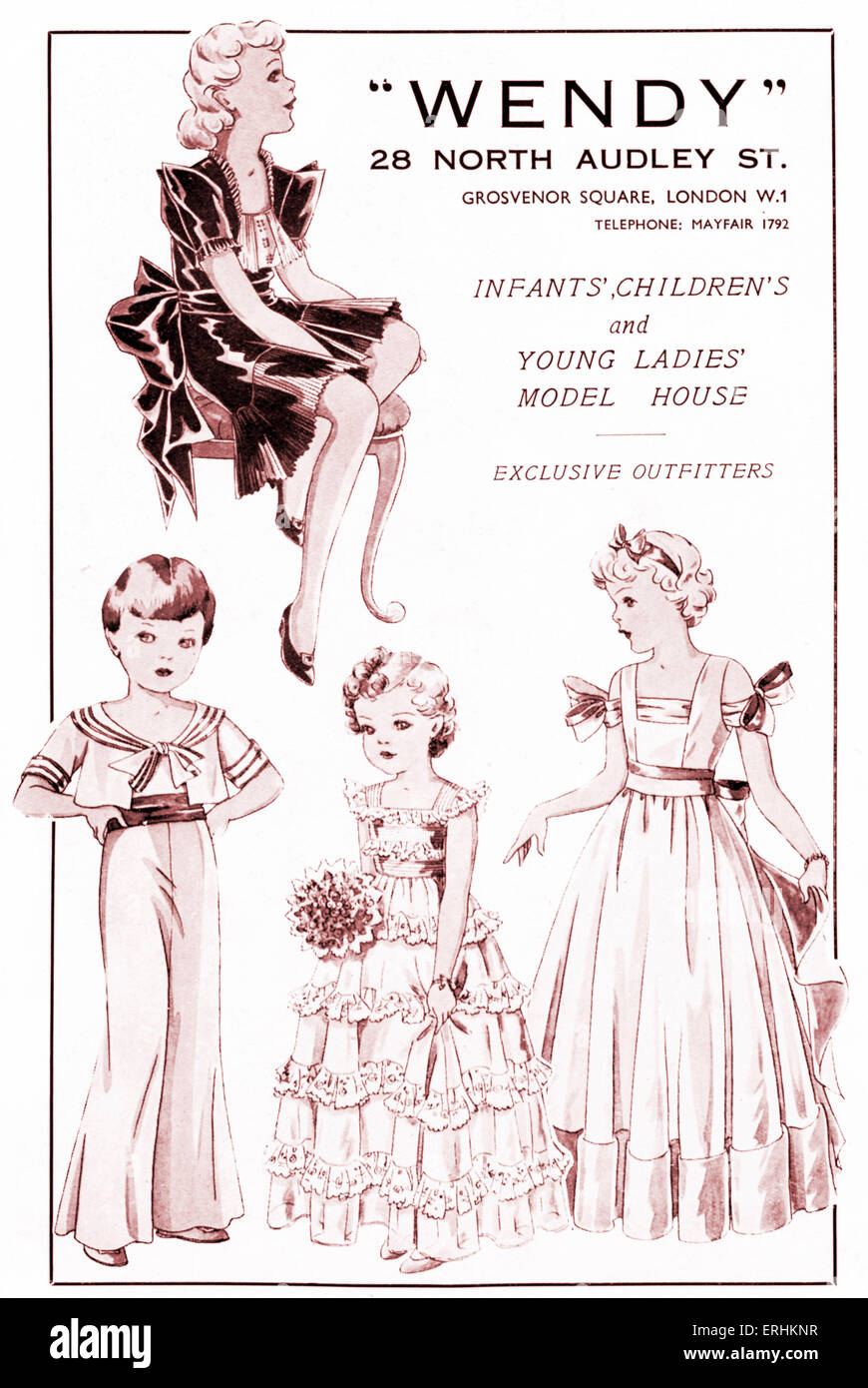 Advertisement for children 's clothing shop 'Wendy' 1937. Young girls in dresses and gowns, sailor suits. - Stock Image