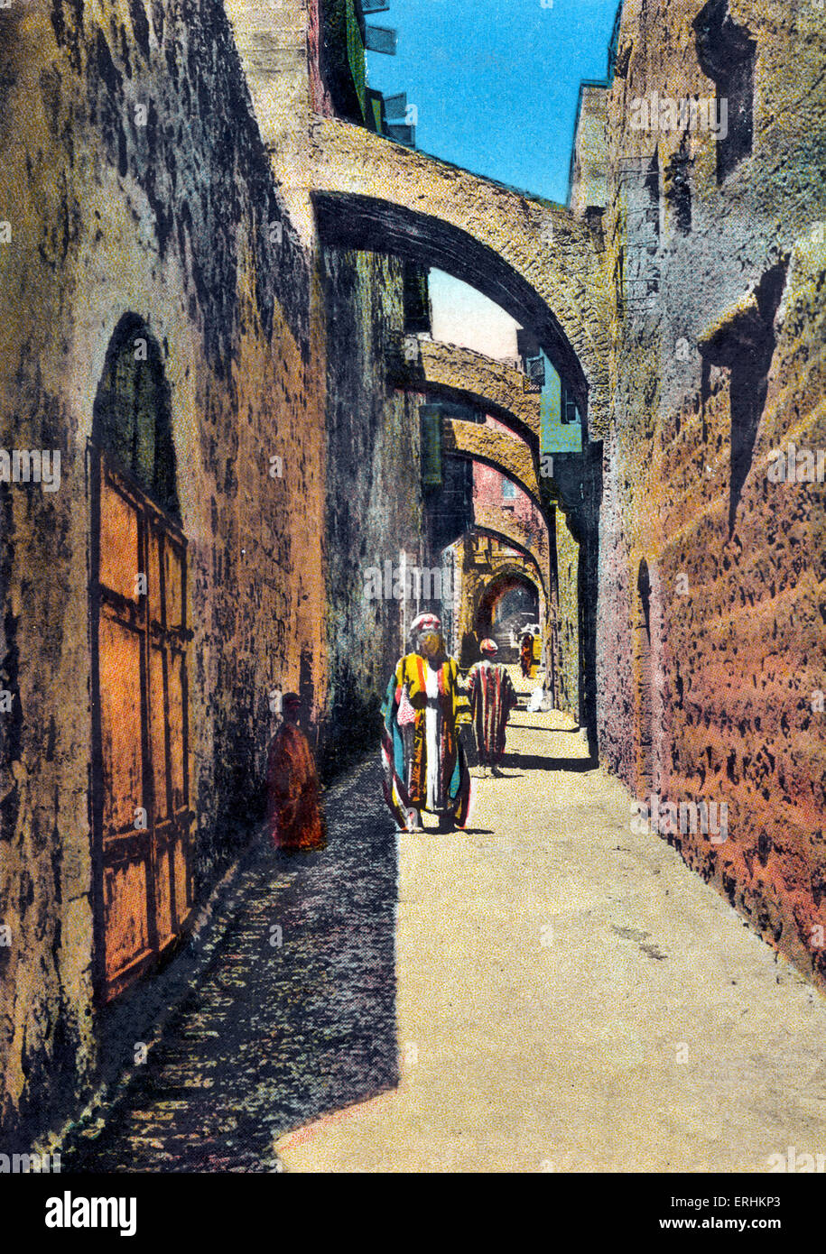 Jerusalem - the fifth Station of the Cross in the Via Dolorosa (the Way of Grief). Where Christian pilgrims walk. Stock Photo