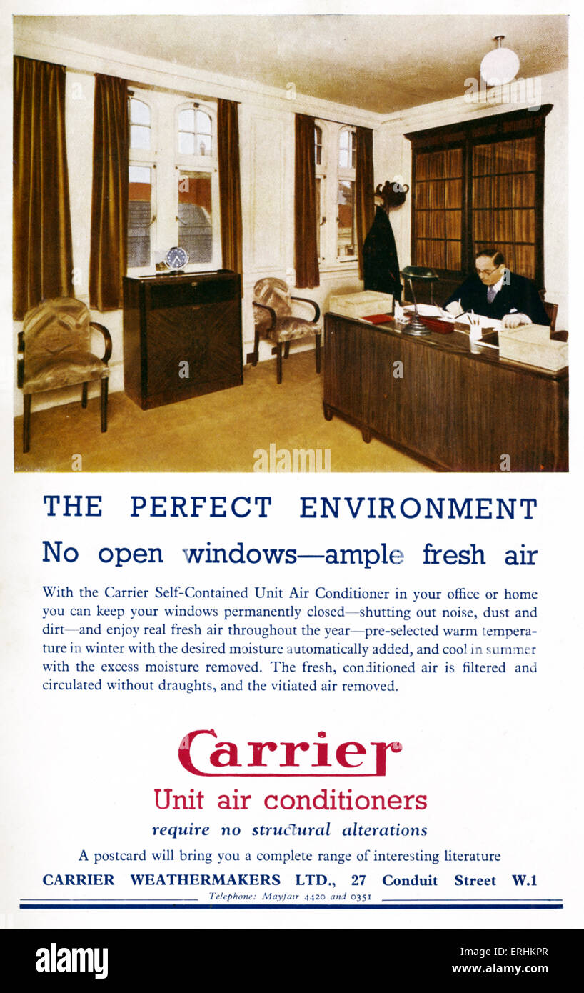 'Carrier' Unit Air Conditioners advert - advert for air conditioning in the workplace - man seated at his - Stock Image