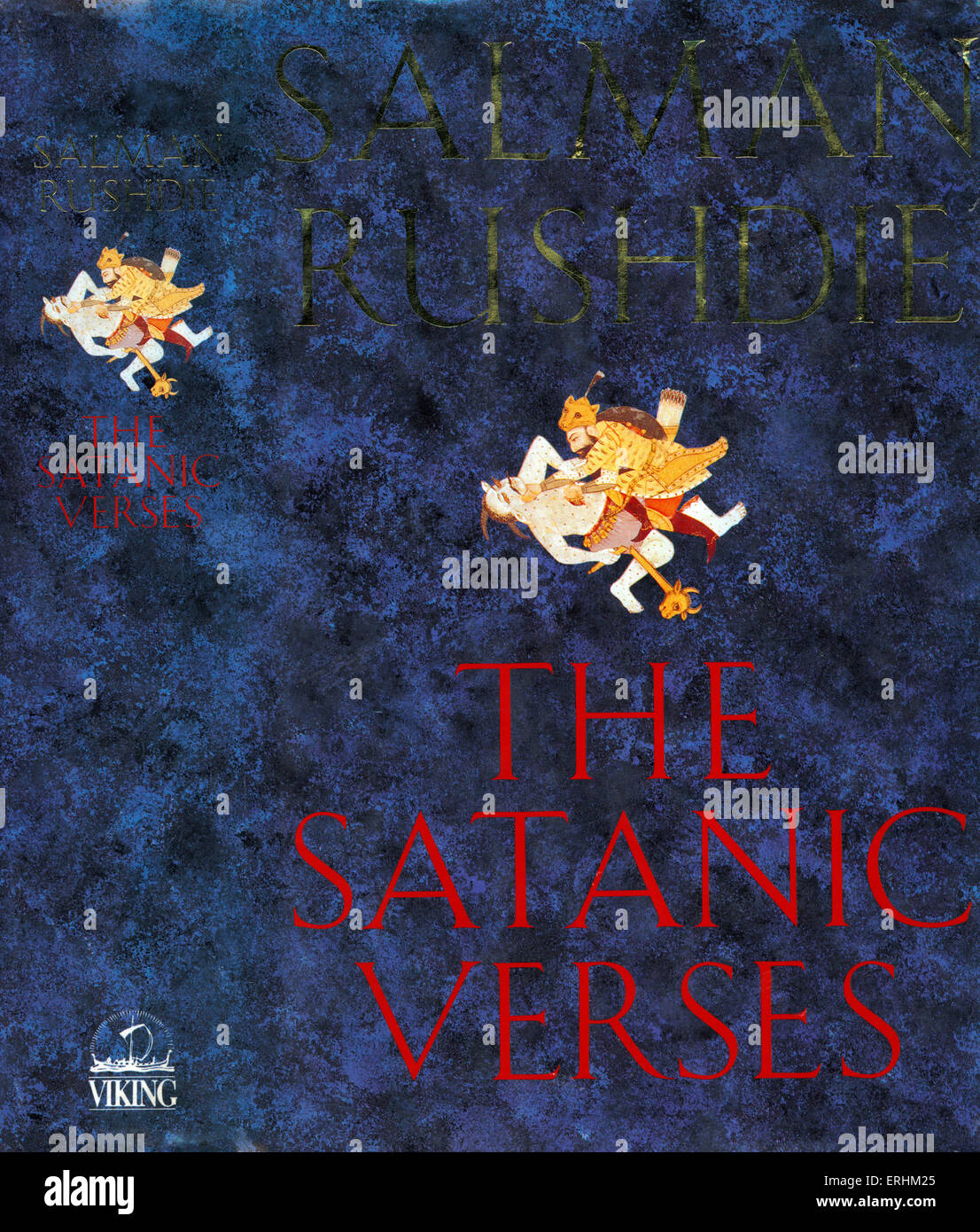 Salman Rushdie 's book 'The Satanic Verses' cover. Published London, Viking. - Stock Image