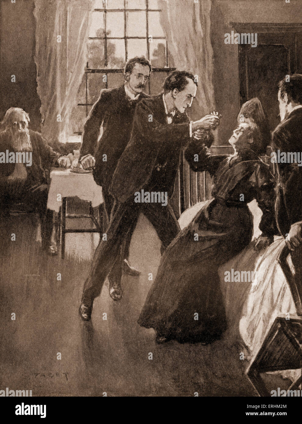 'The Return of Sherlock Holmes' by Sir Arthur Conan Doyle - Holmes trying to prevent the Russian woman Anna - Stock Image