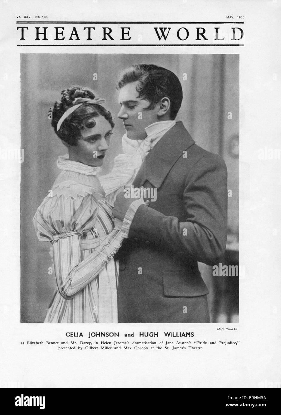 Celia Johnson as 'Elizabeth Bennet' & Hugh Williams as 'Mr. Darcy' in Helen Jerome 's dramatisation - Stock Image