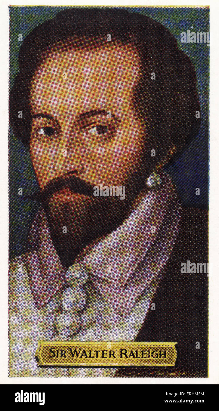 Sir Walter Raleigh - English explorer. WR: 1552 – 29 October 1618.  Established the first English colony in North - Stock Image
