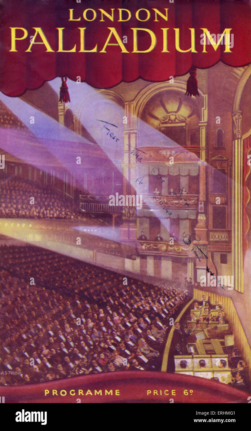 London Palladium programme showing theatre auditorium with spotlights. - Stock Image