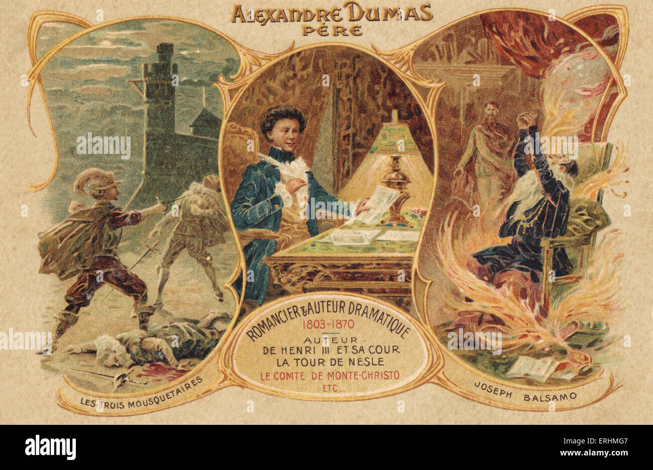Alexandre Dumas père -  French  writer, Writing at his desk with The Three Musketeers / Les Trois Mousquetaires, - Stock Image