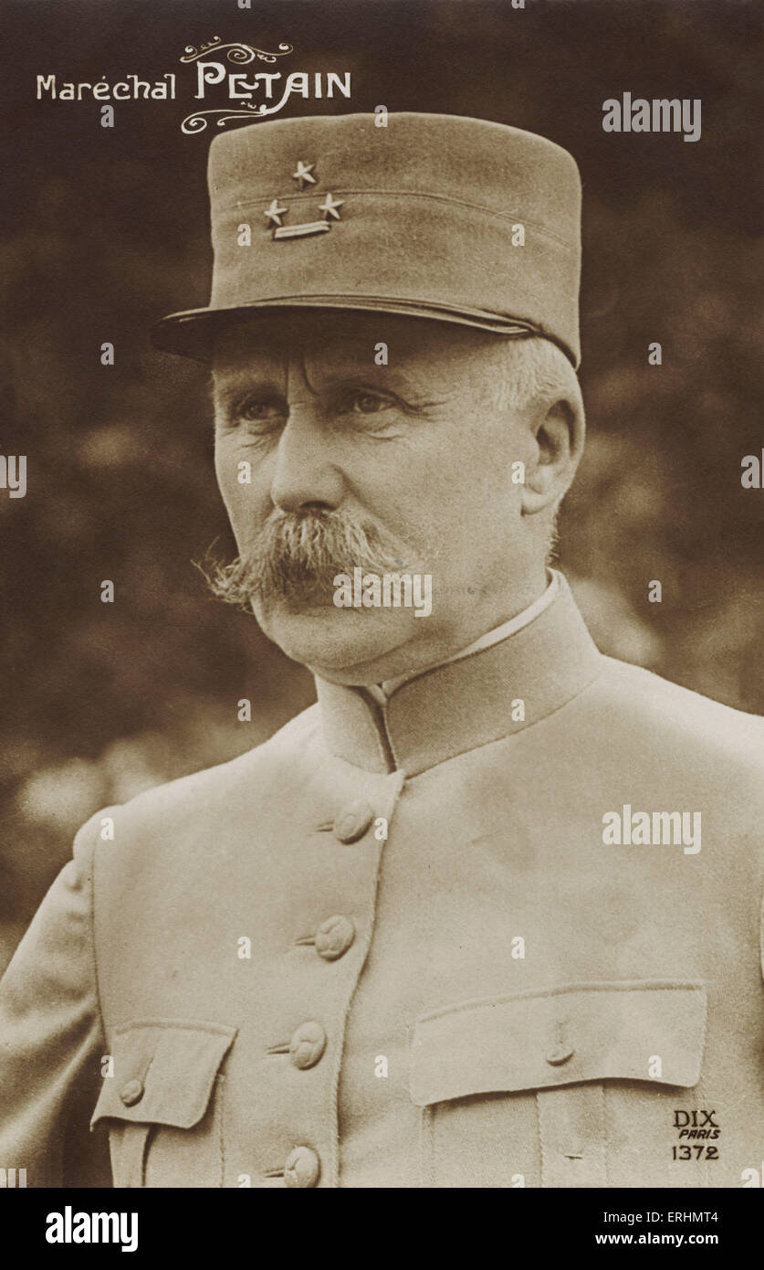 Marshal Pétain in uniform - French general and later head of state of Vichy, France (1940 - 1944) Born Henri - Stock Image