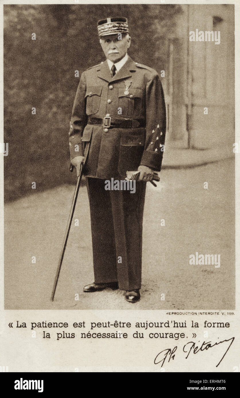 Marshal Pétain - French general and later head of state of Vichy, France (1940 - 1944) Born Henri Philippe - Stock Image
