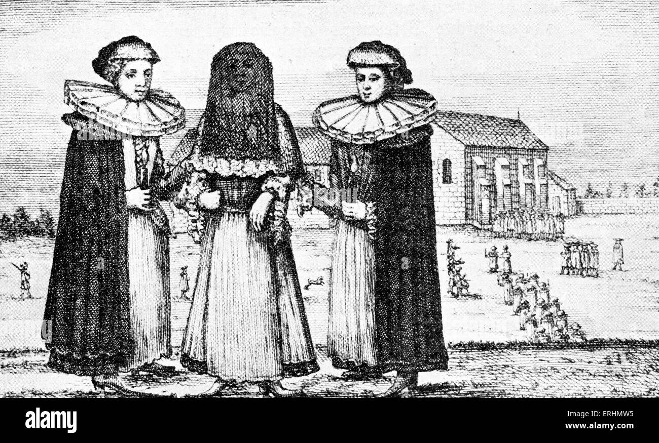 Jewish bride in 18th century with her two attendants / bride's maids. - Stock Image