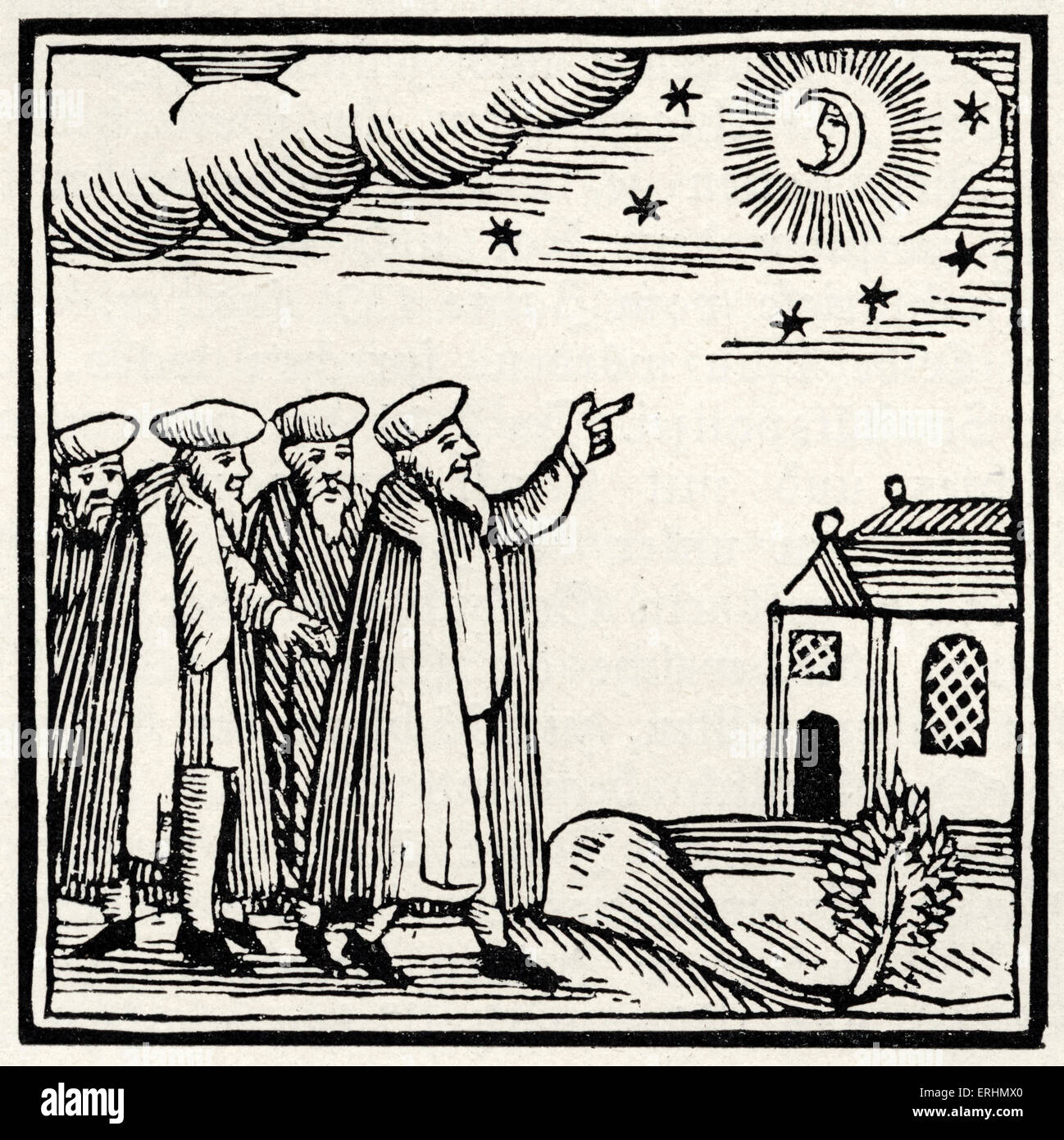 Blessing on the new moon Drawing from 1695 Amsterdam Passover Hagadah - Stock Image