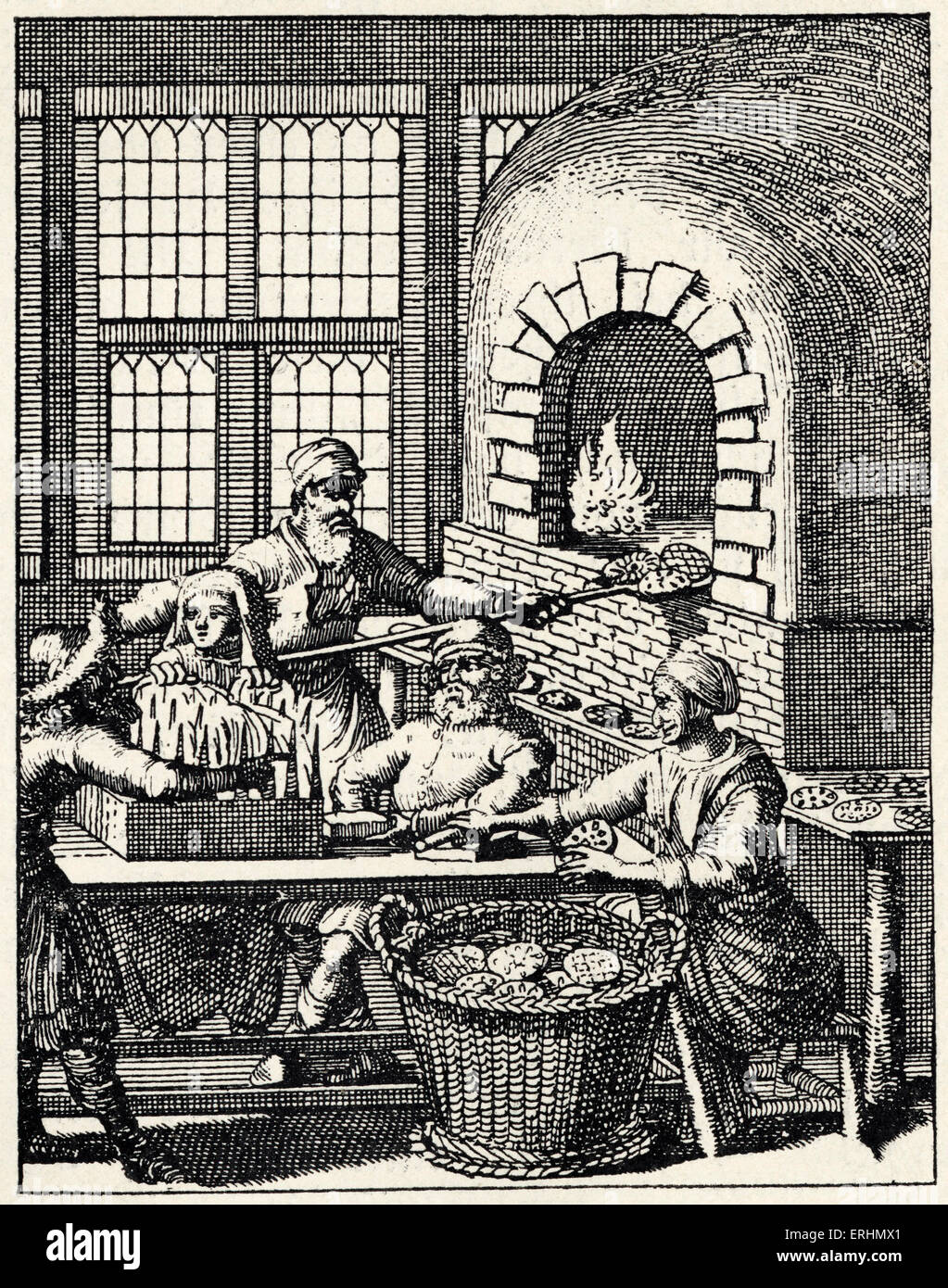 Baking the unleavened bread / matzot for festival of Passover From book published in Utrecht, 1657 - Stock Image