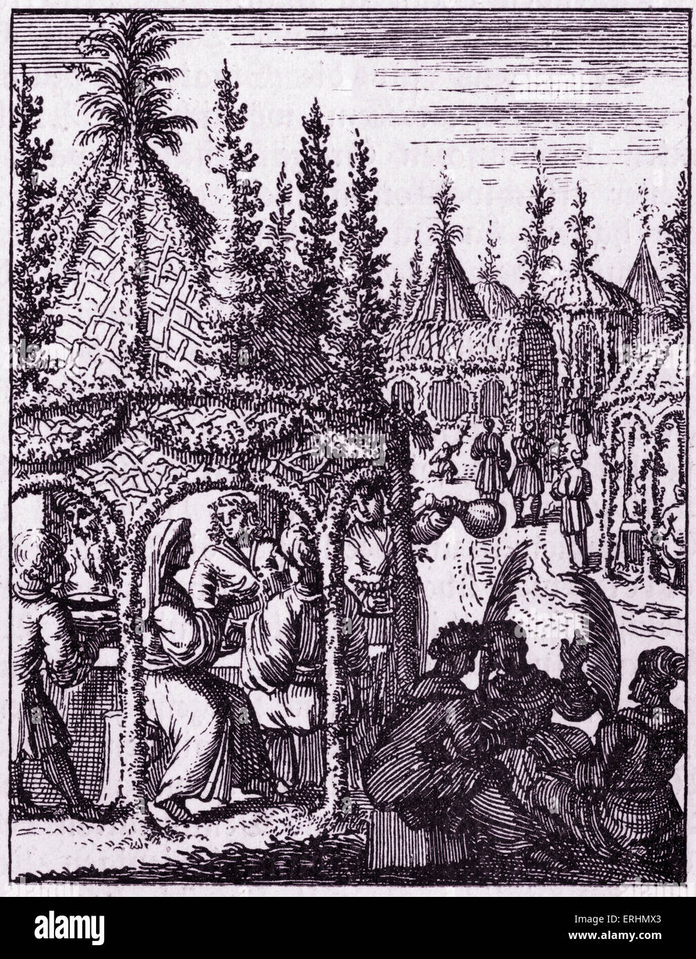 Festive meal in a sukka (temporary shelter) for the festival of Sukkot From book published in Utrecht, 1657 - Stock Image