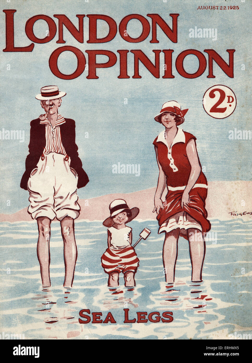 London opinion - magazine cover 22 August 1925  Cover illustration of couple and child with the caption 'Sea - Stock Image