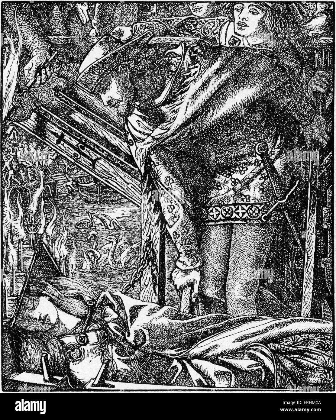Dante Gabriel Rossetti 's illustration for 'The Lady of Shalott' Engraved by Dalziel for the 1857 Moxon - Stock Image