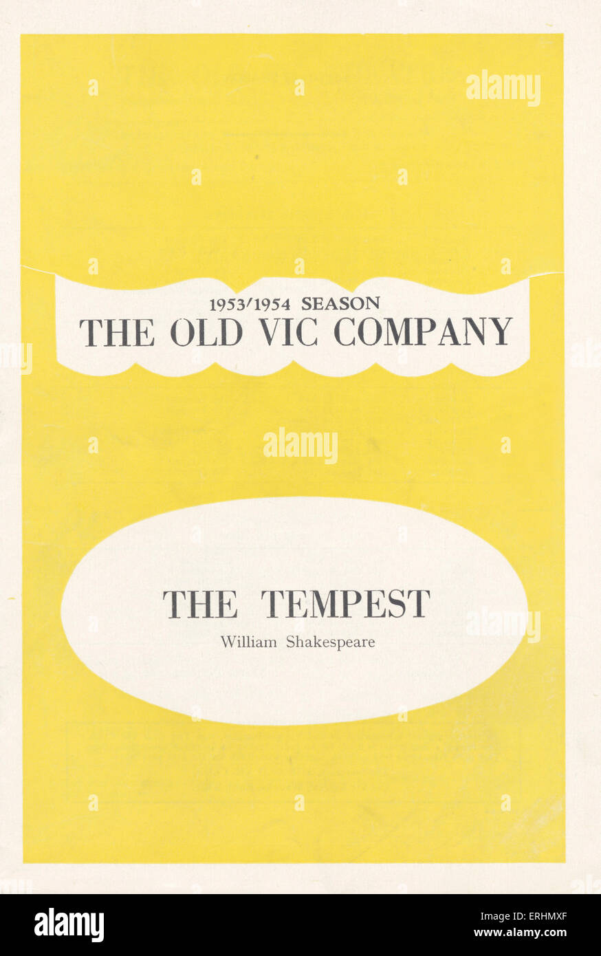 The Tempest - programme cover for William Shakespeare 's play at the Old Vic Theatre, London. 1953-1954 season. - Stock Image