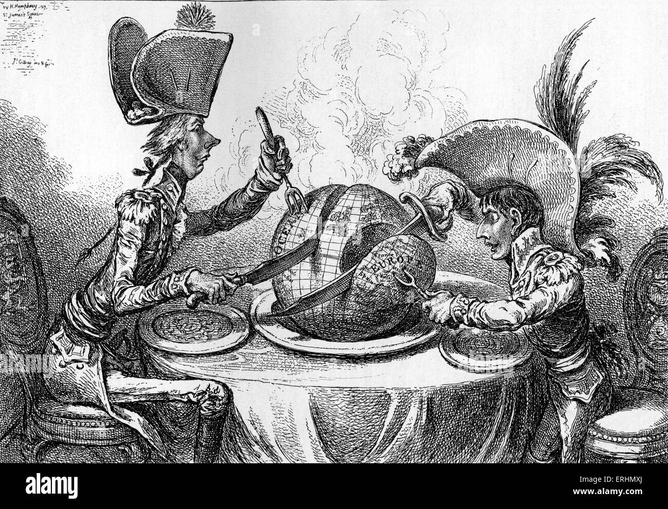 'The Plum Pudding in Danger' (or 'State Epicures Taking un Petit Souper') - English caricature showing - Stock Image