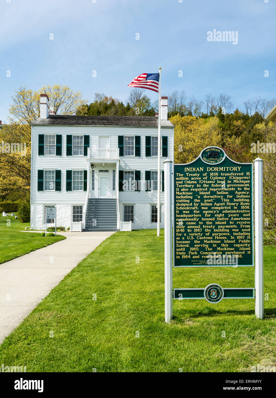 Michigan, Mackinac Island, The Richrad and Jane Manoogian Mackinac Art Museum located in former Indian Dormitory - Stock Image
