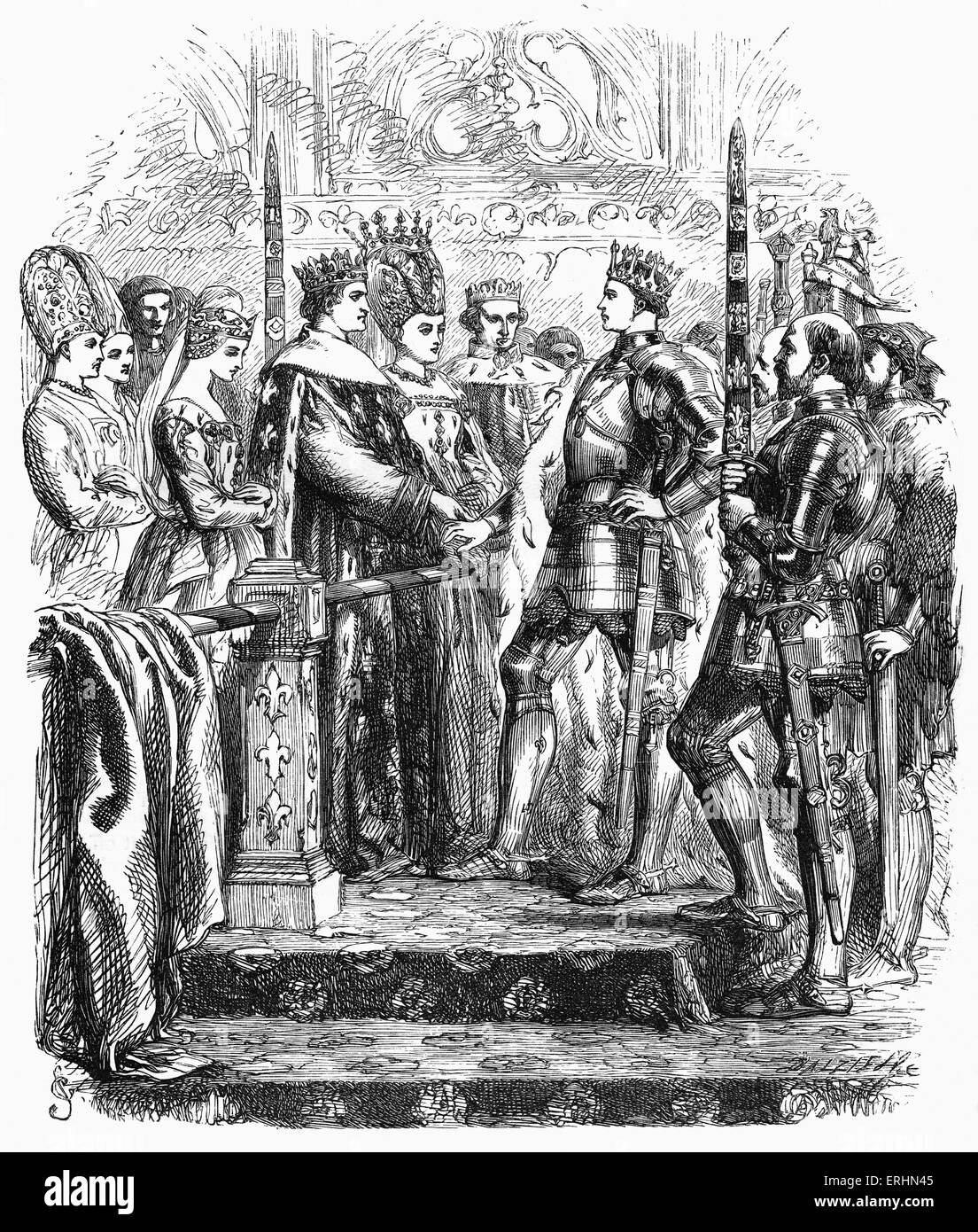 William Shakespeare 's play 'King Henry V' - portrait of King Henry V of England meeting the King & - Stock Image
