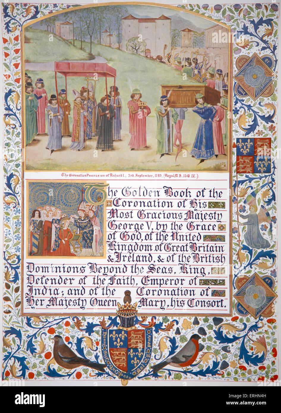 Richard I coronation procession, 3 September 1189 Used as illustration in manuscript celebrating coronation of George - Stock Image