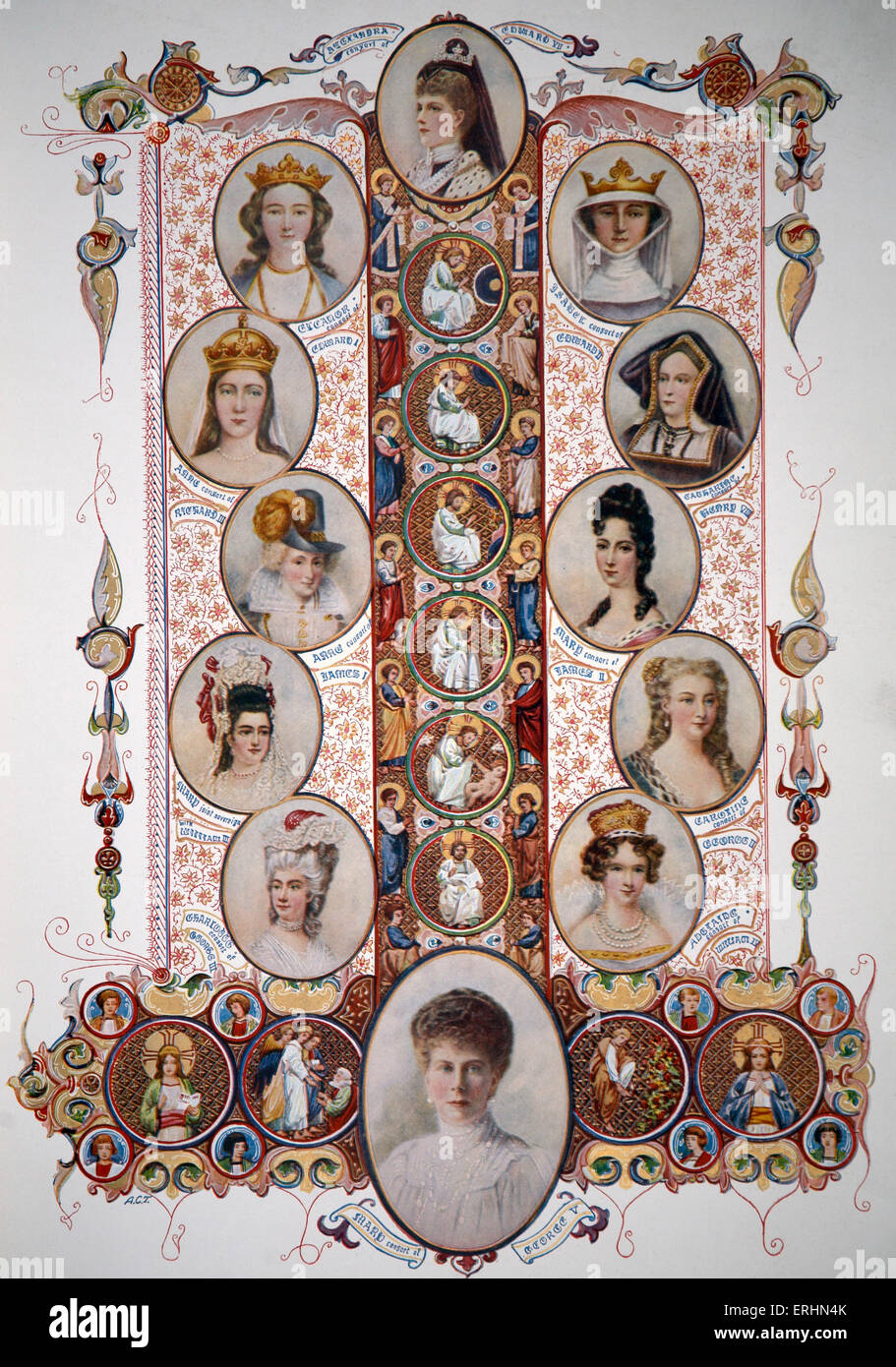 Royal consorts (wives) of British Kings up until 1910. Starting with Eleanor of Castille consort of Edward I, ending - Stock Image