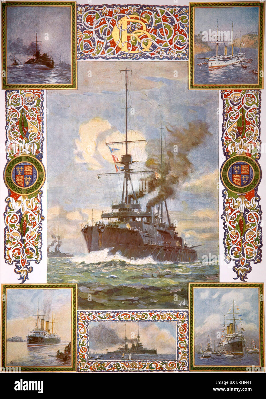 British battleships and boats in 1910 that had been under the command of King George V. Paintings by Norman Wilkinson - Stock Image