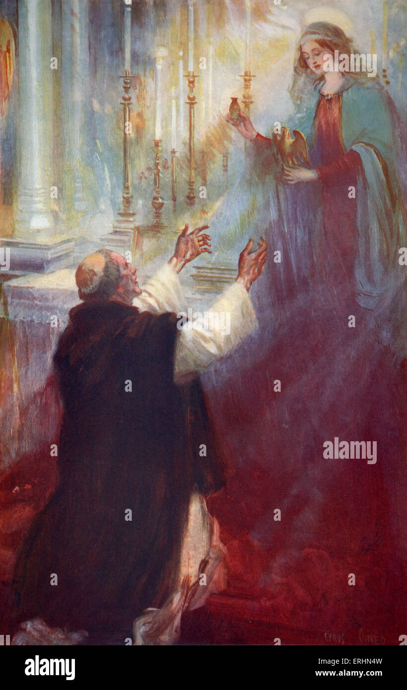 The Legend of the Coronation oil and the Ampulla: the virgin appearing to Thomas a Becket Painting fby Cyrus Cuneo.When Stock Photo