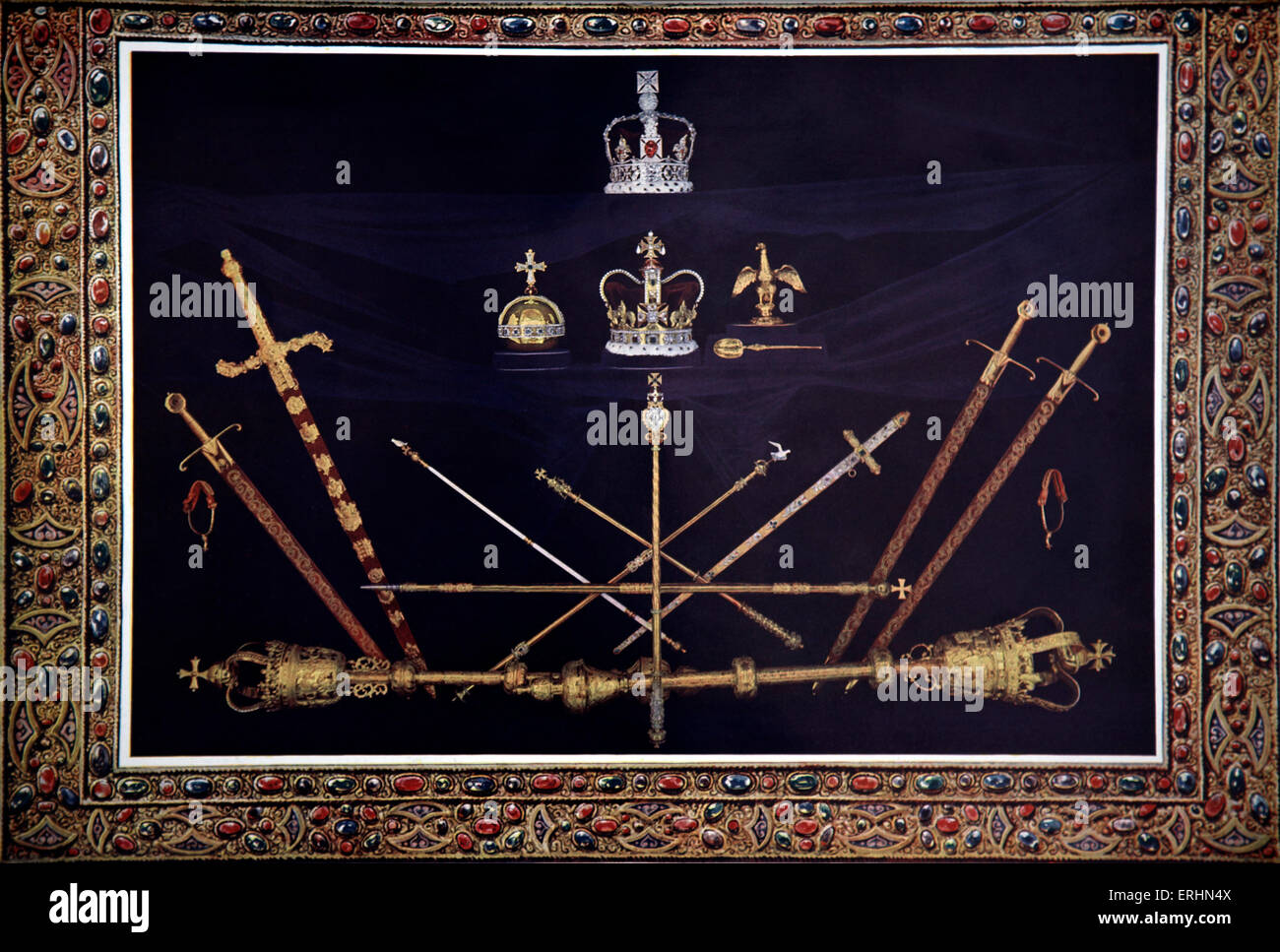 Coronation ceremony regalia at the time of the coronation of King George V 1910. Imperial Crown, Crown of  St Edward, - Stock Image