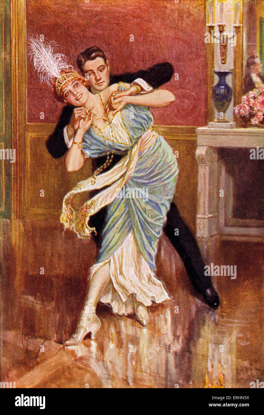 Couple dancing in Vienna late 19th century Woman is wearing a feather head dress and long necklace of pearls.  Caption - Stock Image