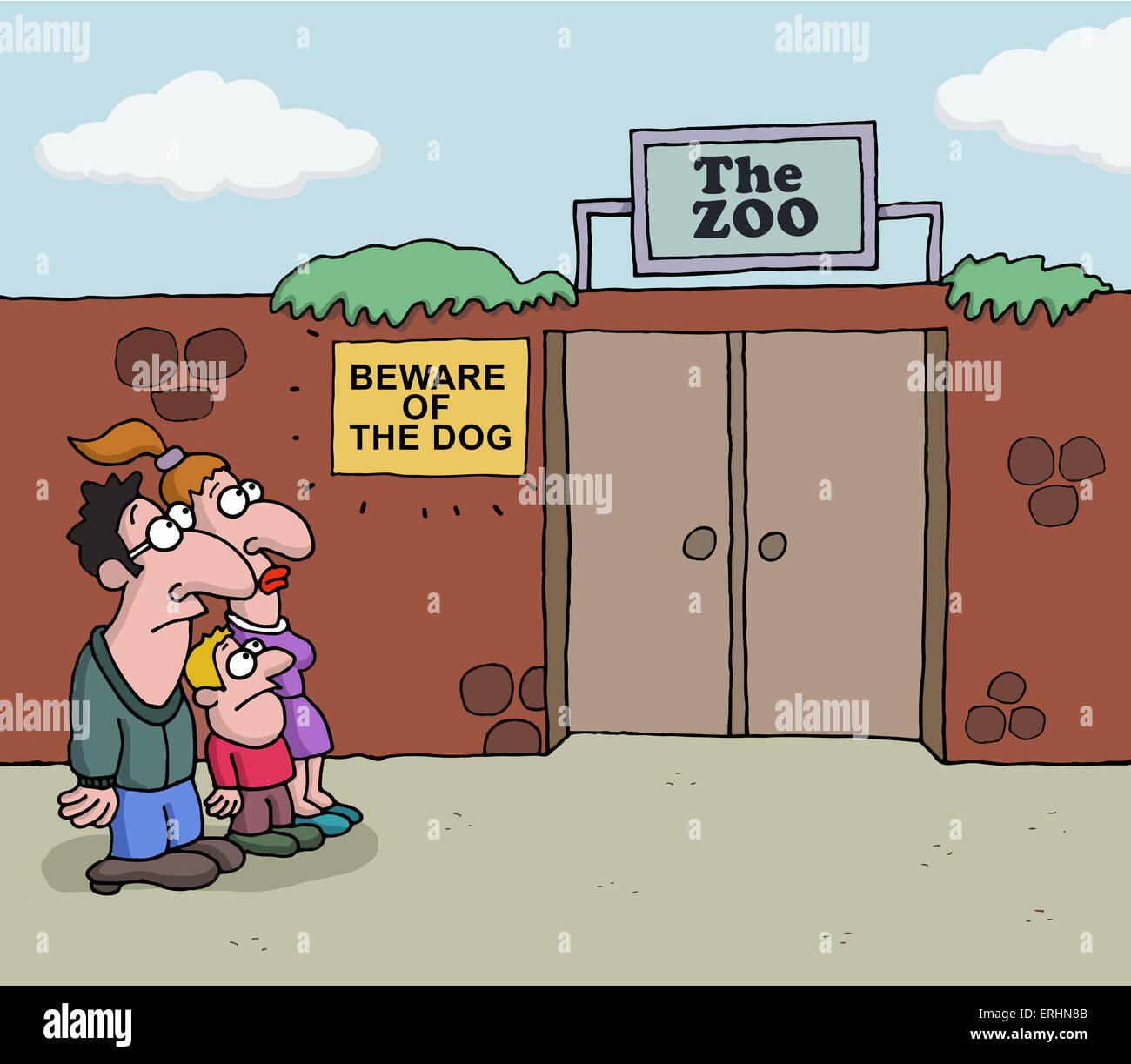 Conceptual cartoon about Zoo Stock Photo