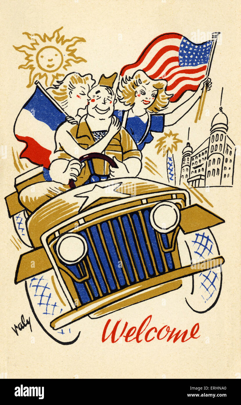 American GI at end of World War II being greeted by beautiful girls waving French and American flags as he drives - Stock Image