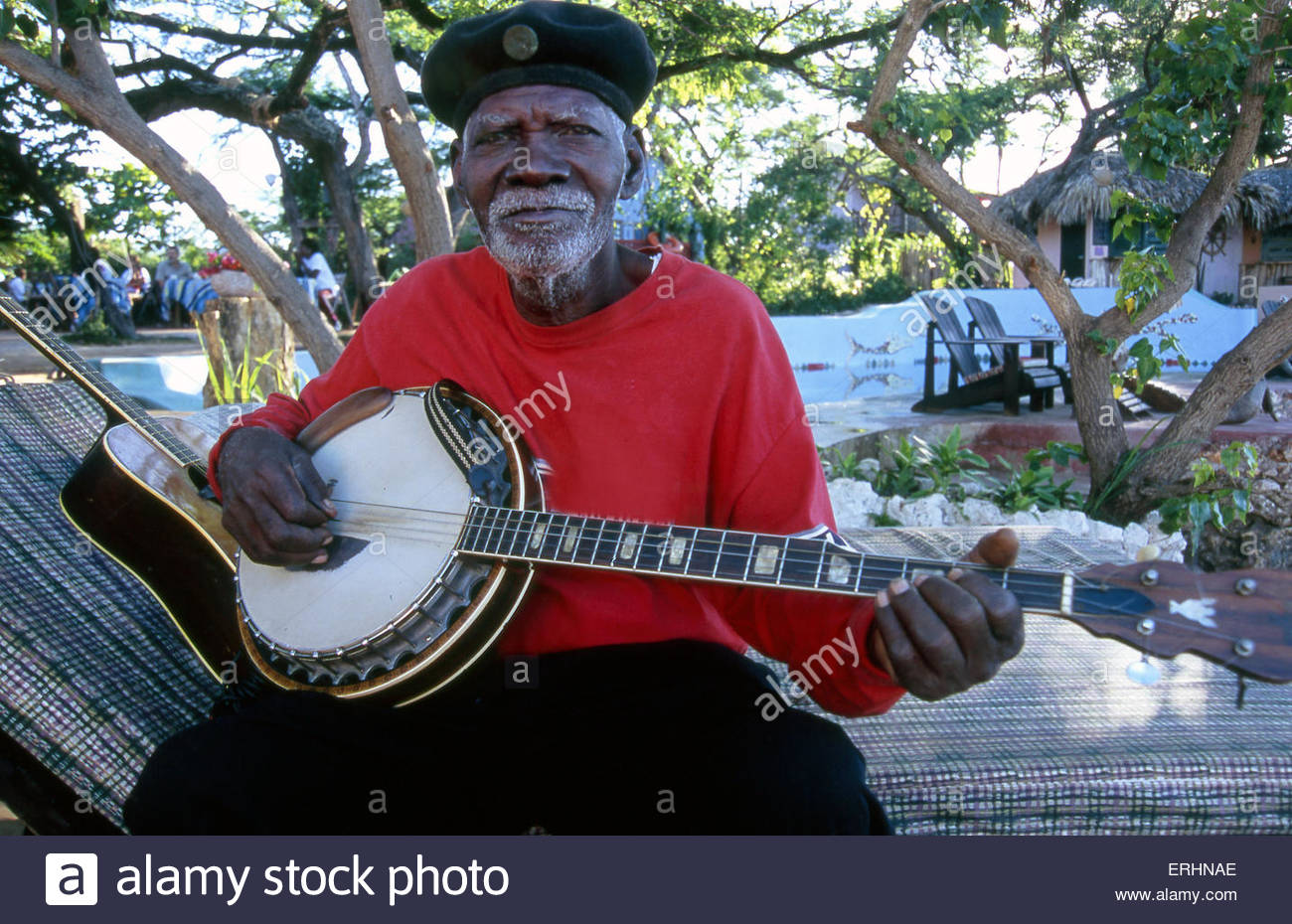 Banjo player in Jamaica - Stock Image