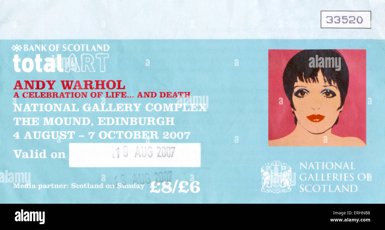 Andy Warhol exhibition ticket at Edinburgh National Gallery. Dated 19 August, 2007, sponsored by Bank of Scotland. - Stock Image
