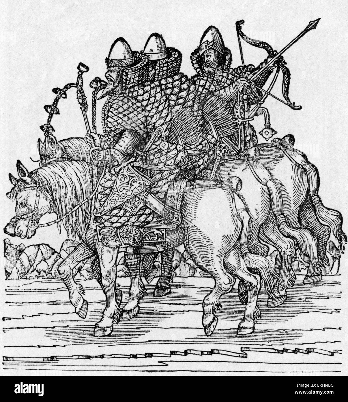 Russian Warriors mounted on horseback with crossbows and wearing chain mail armour, c. 1557. Woodcut from Baron - Stock Image
