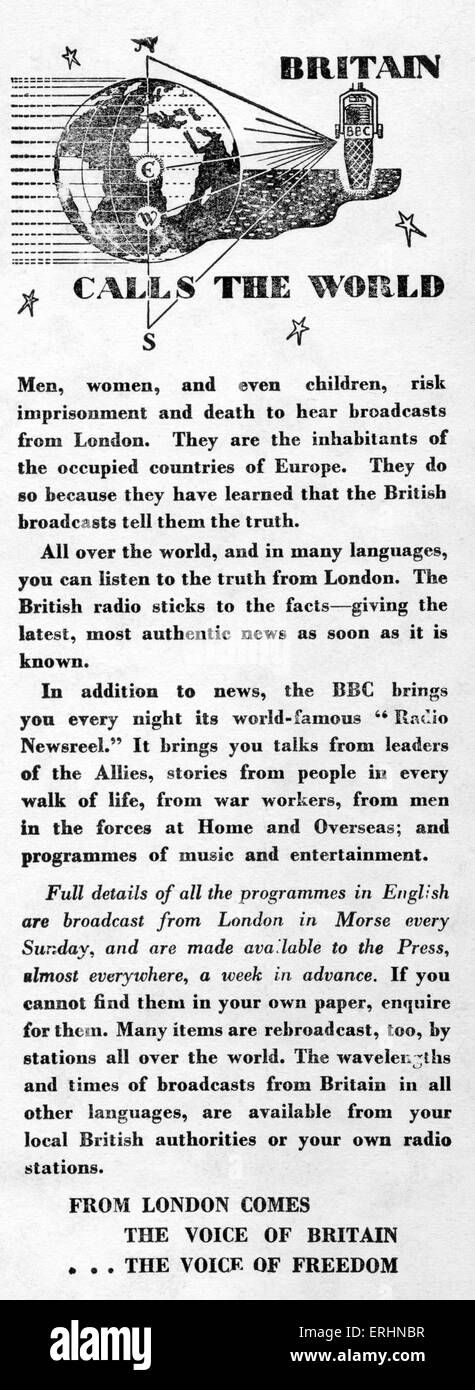 Britain calls the world - wartime advert for BBC radio - published inside cover flap 1943 by Alden Press. 'Men, - Stock Image