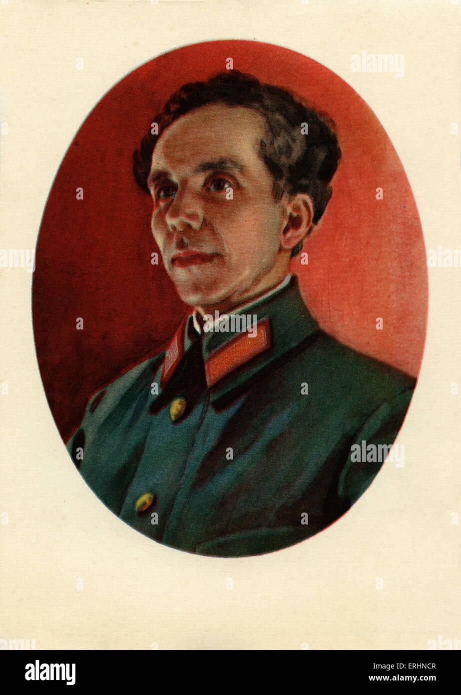 Nikolai Alexeevich Ostrovsky Soviet socialist realist writer. Famous novel  How the Steel Was Tempered.  29 September - Stock Image