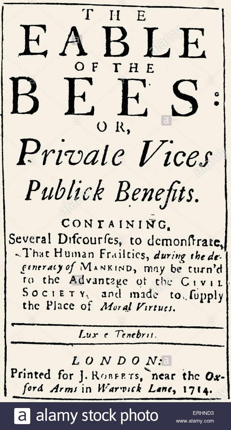 Fable of the Bees or Private Vices Publick Benefits' - Poem with extensive prose commentary by Bernard Mandeville. - Stock Image