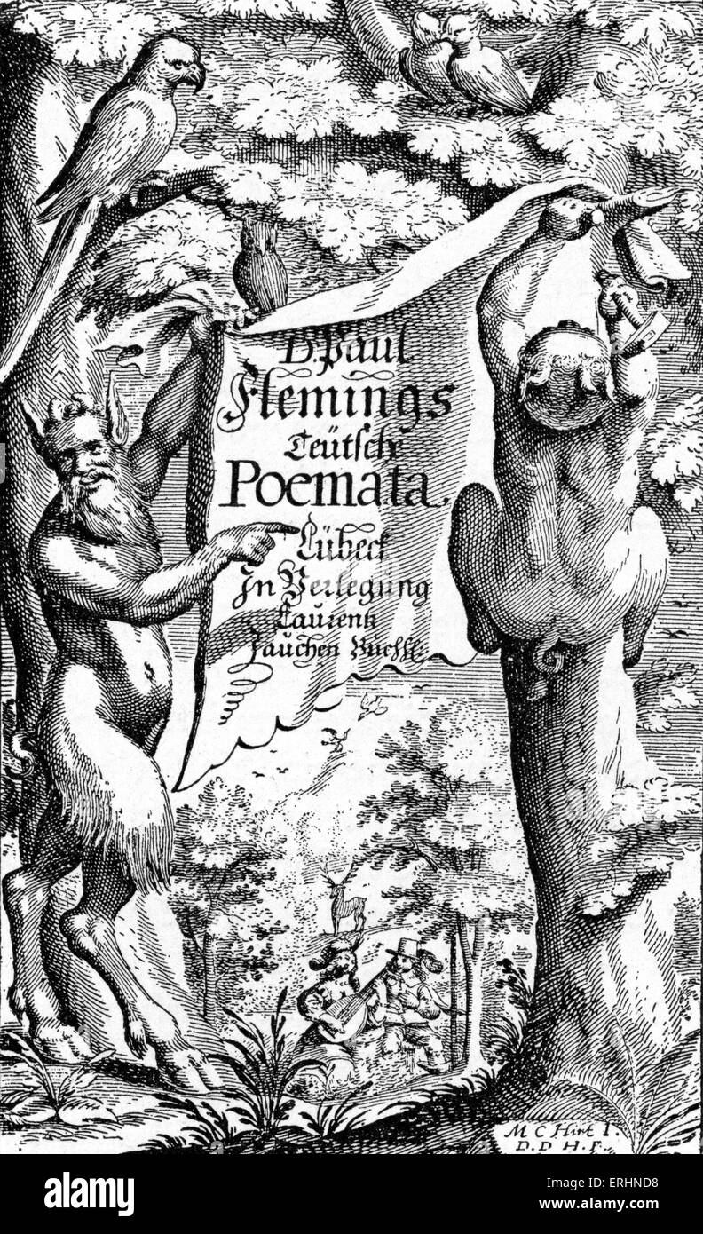 Paul Fleming 's poetry collection - title page of first edition, Lübeck, 1642. PF: 5 October 1609 - 2 April 1640. Stock Photo