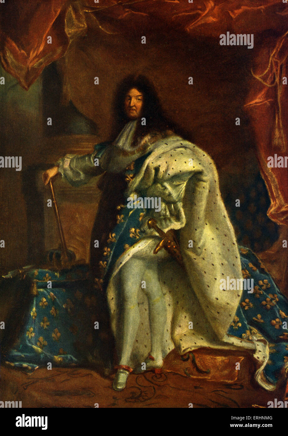 Louis XIV, King of France - after painting by Hyacinthe Rigaud, 1701. Original held at Louvre Museum, Paris, France. - Stock Image